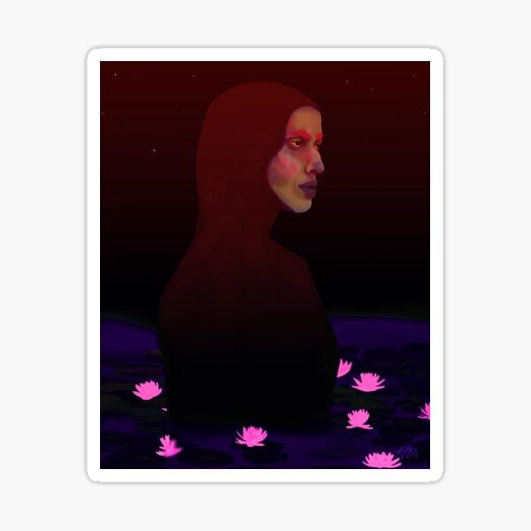 Luminescent Lagoon   Lotus Flower, Cyber Punk, Neon, Surreal Portrait Sticker
