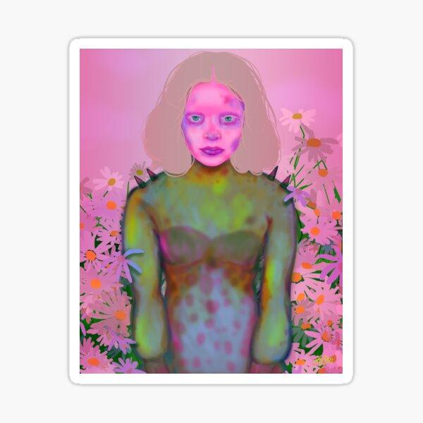 Cyber Punk Princess   Cyber Goth, Pastel Pink, Sci-fi, Fantasy, Digital Painting Sticker