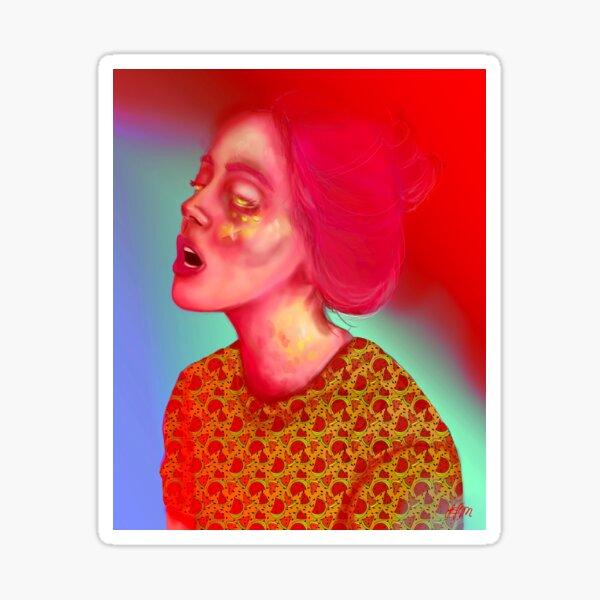 Pink Hair   Sci-fi Space Girl, Cyber Punk, Woman Portrait, Digital Art, Illustration  Sticker