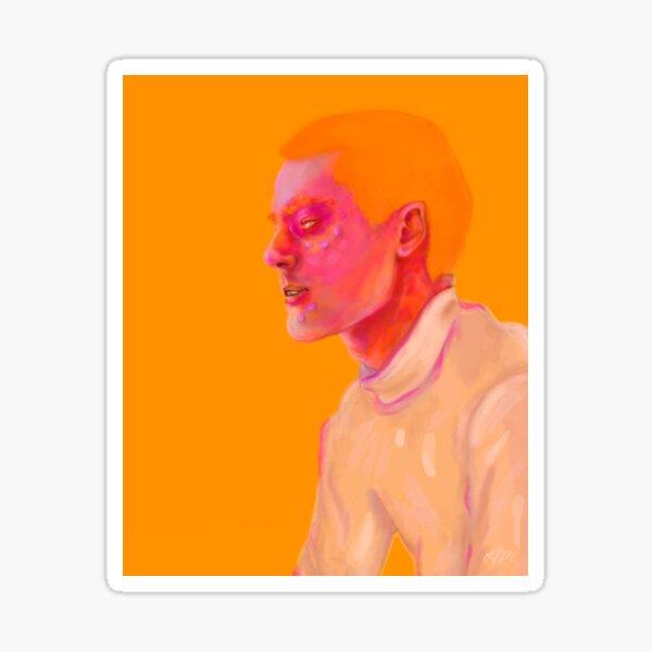 Orange Boy   Cyber Punk Space Person, Illustrated Portrait Sticker