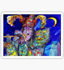 FLUTIST IN BLUE / Venetian Carnival Night Sticker