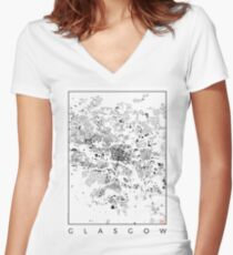 Glasgow Map Schwarzplan Only Buildings Urban Plan Women's Fitted V-Neck T-Shirt