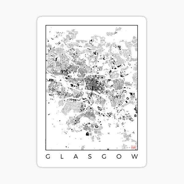 Glasgow Map Schwarzplan Only Buildings Urban Plan Sticker