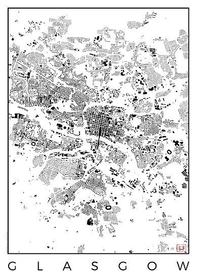 Glasgow Map Schwarzplan Only Buildings Urban Plan by HubertRoguski