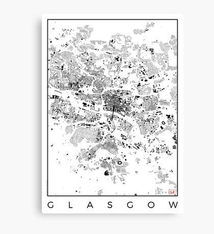 Glasgow Map Schwarzplan Only Buildings Urban Plan Canvas Print