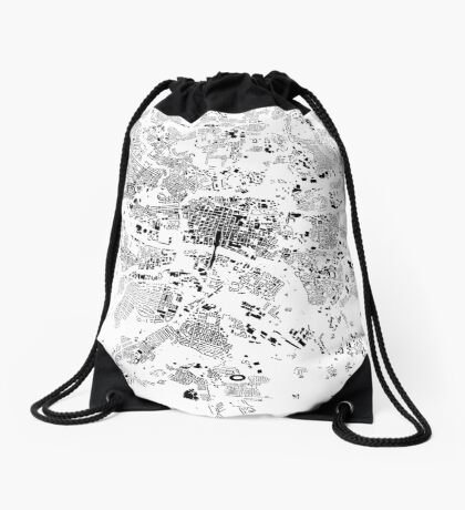 Glasgow Map Schwarzplan Only Buildings Urban Plan Drawstring Bag