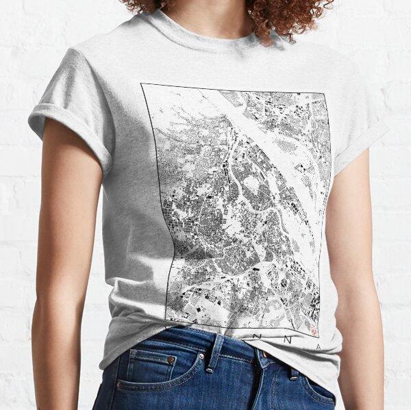 Vienna Map Schwarzplan Only Buildings Urban Plan Classic T-Shirt