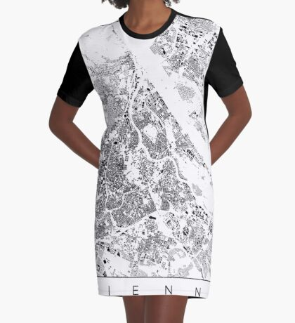 Vienna Map Schwarzplan Only Buildings Urban Plan Graphic T-Shirt Dress
