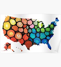 United States of America Map 1 - Colorful USA Poster