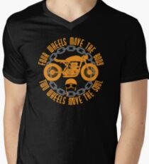 Four Wheels Move The Body, Two Wheels Move The Soul. Motorcycle Quote T-Shirt