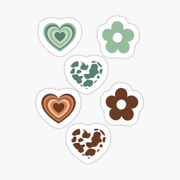 Latte Hearts Indie Flowers Cow Print Pack Sticker
