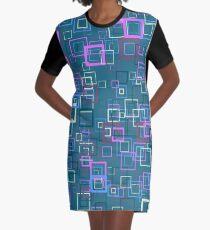 Pop art retro pop squares blue Graphic T-Shirt Dress
