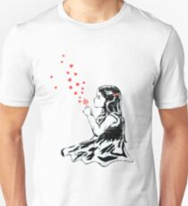 Girl blowing hearts by Banksy Unisex T-Shirt