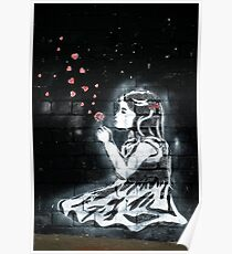 Girl blowing hearts by Banksy Poster
