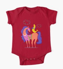 Circus Horse and Sealion, cute character illustration One Piece - Short Sleeve