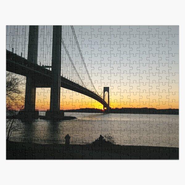 #BayRidge #famousplace #internationallandmark #VerrazanoNarrowsBridge #BathBeach #NewYorkCity #USA #americanculture #water #suspensionbridge #architecture #travel #sunset #sky #river #reflection Jigsaw Puzzle