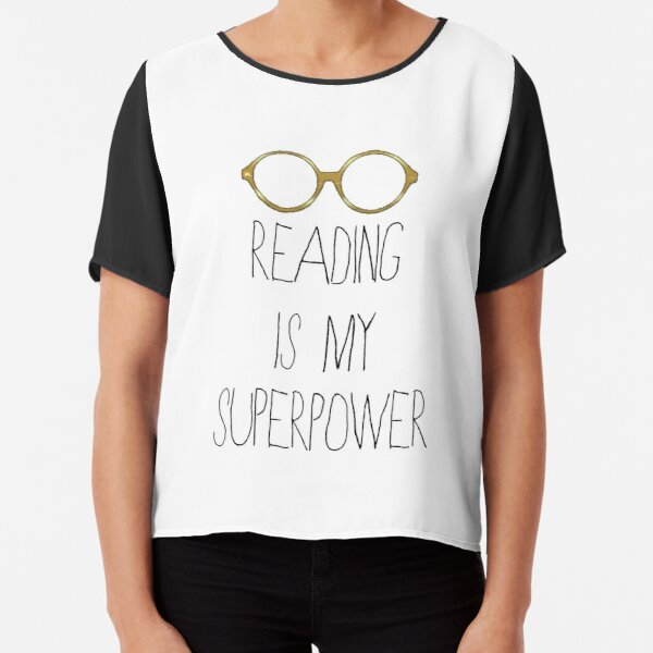 Reading is my superpower - White/Gold Chiffon Top