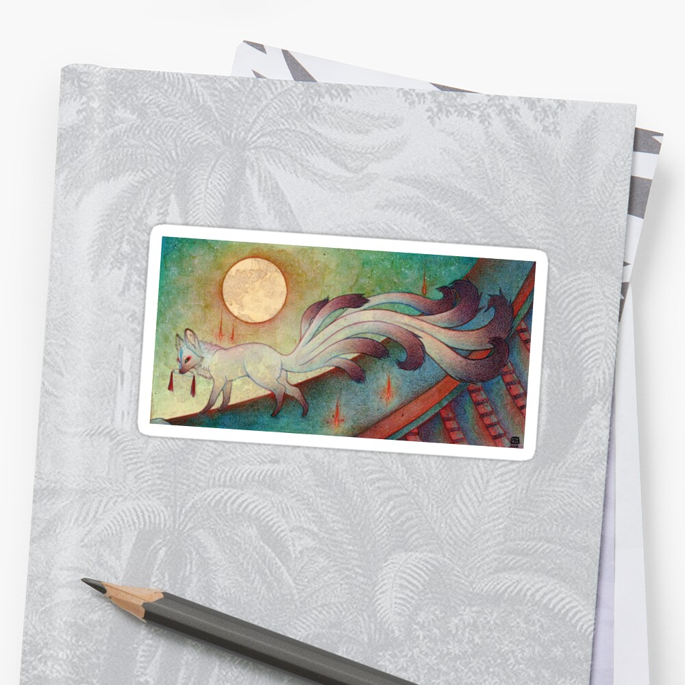 The Messenger Kitsune Fox Yokai Stickers By Teakitsune Redbubble