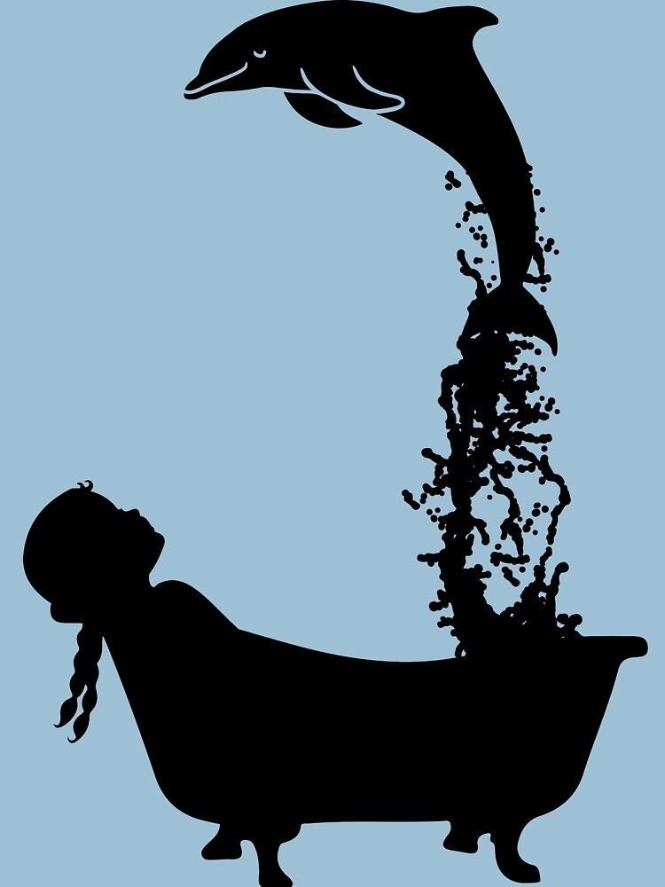 Dolphin leaping out of bath tub silhouette. by BOLD-Australia
