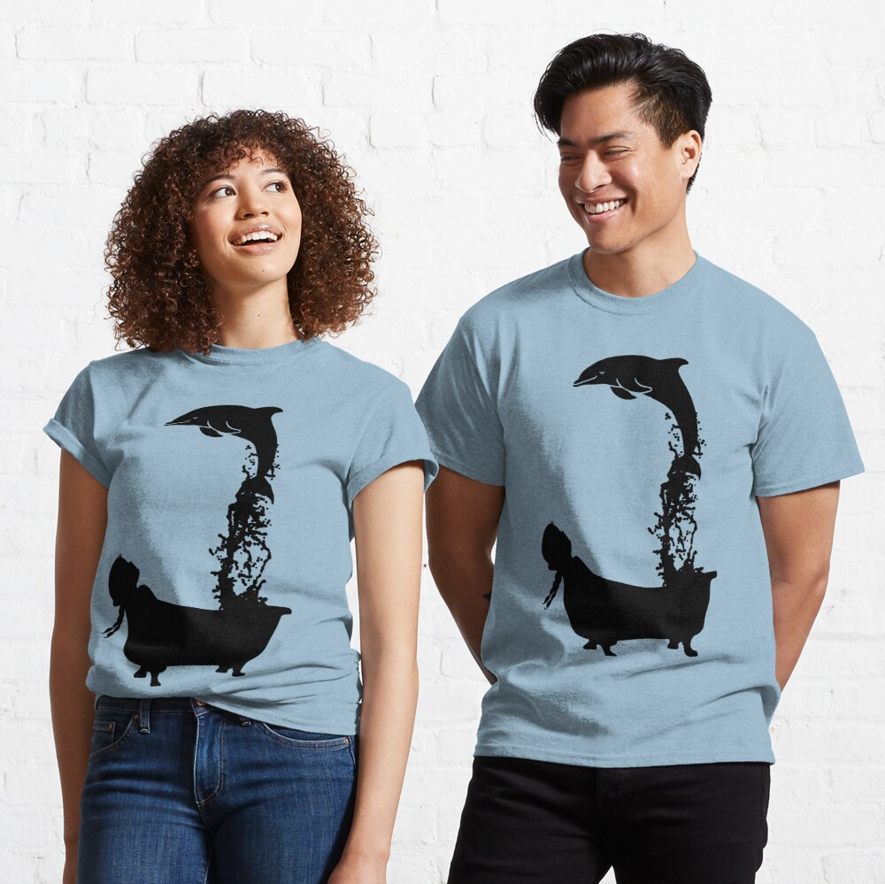 Dolphin leaping out of bath tub silhouette. Classic T-Shirt