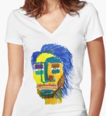 Marker Face Women's Fitted V-Neck T-Shirt