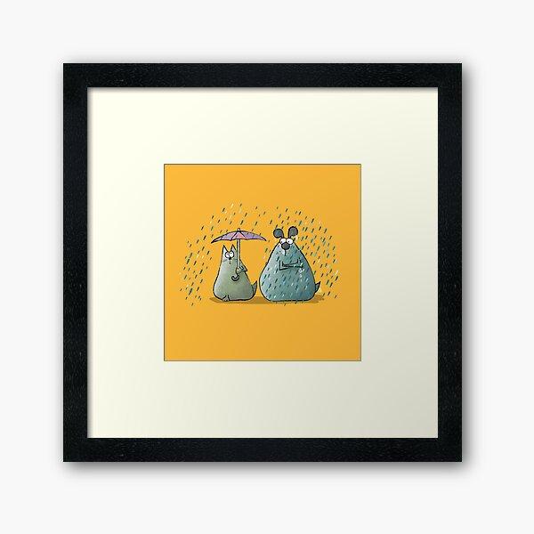 Rain - Cat and Dog Framed Art Print