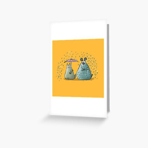 Rain - Cat and Dog Greeting Card