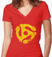 45 RPM Record adapter Tee Women's Fitted V-Neck T-Shirt