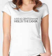 A real gentleman holds the door Women's Fitted Scoop T-Shirt