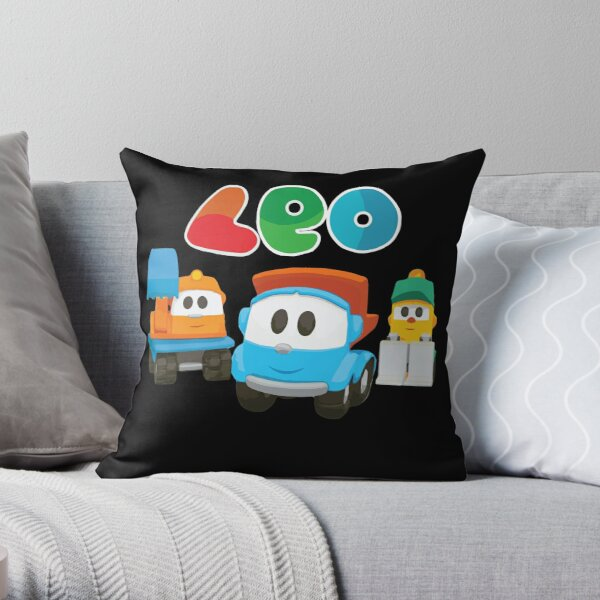 leo the truck, lifty and scoop  Throw Pillow