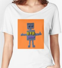 Robot on Orange  Women's Relaxed Fit T-Shirt