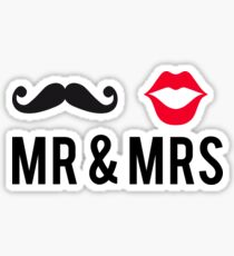 Mr and Mrs, text design with mustache and red lips Sticker