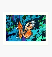 Orange butterfly graphic Art Print