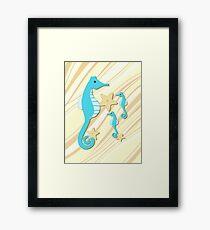 Blue Seahorses Graphic Art Framed Print
