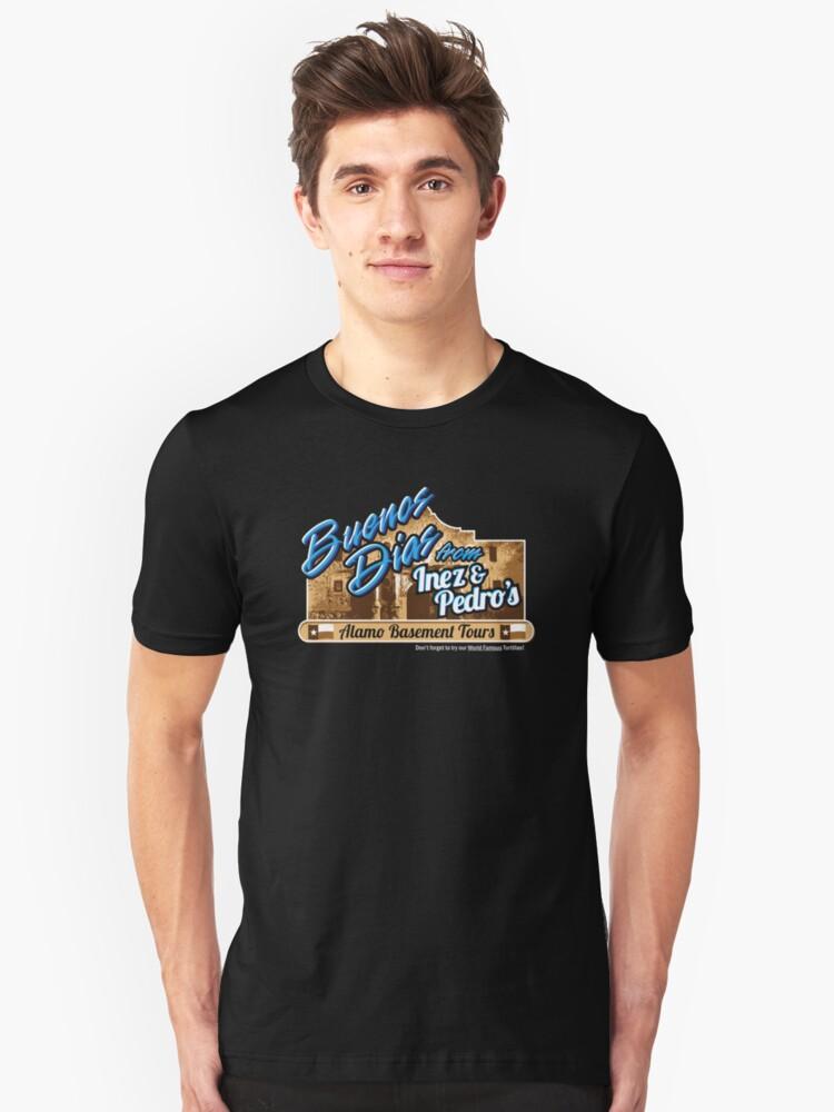 Inez & Pedro's Alamo Basement Tours Unisex T-Shirt Front