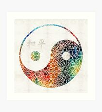 Yin And Yang - Colorful Peace - By Sharon Cummings Art Print
