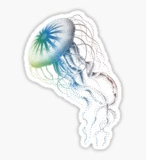 colorful jellyfish, sea life, drawing, illustration Sticker