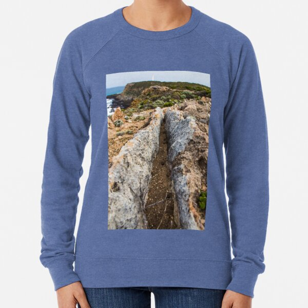 Rugged Australian coastline looking out to the Cape Nelson Lighthouse along the Great Ocean Road Lightweight Sweatshirt