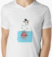 Jetpack Penguin Mens V-Neck T-Shirt