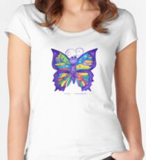 Yoga Butterfly; Namaste  Women's Fitted Scoop T-Shirt