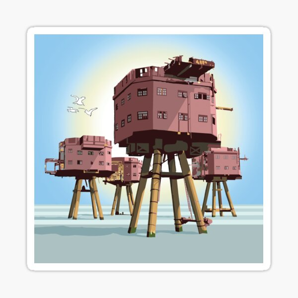 Maunsell Forts Red Sands Sea Towers Whitstable Sticker