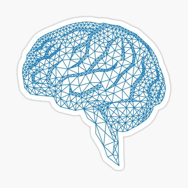 blue human brain with geometric mesh pattern Sticker