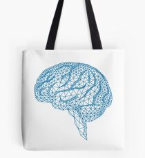 blue human brain with geometric mesh pattern Tote Bag