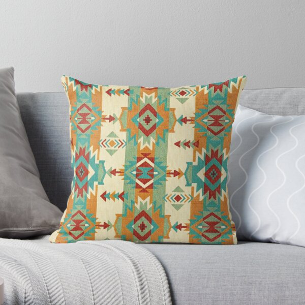 Tribal, Native American, Ethnic Icons and Symbols Throw Pillow