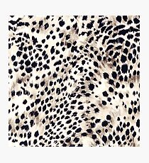 Fabric Art, Faux Animal Fur, Snow Leopard Print Photographic Print