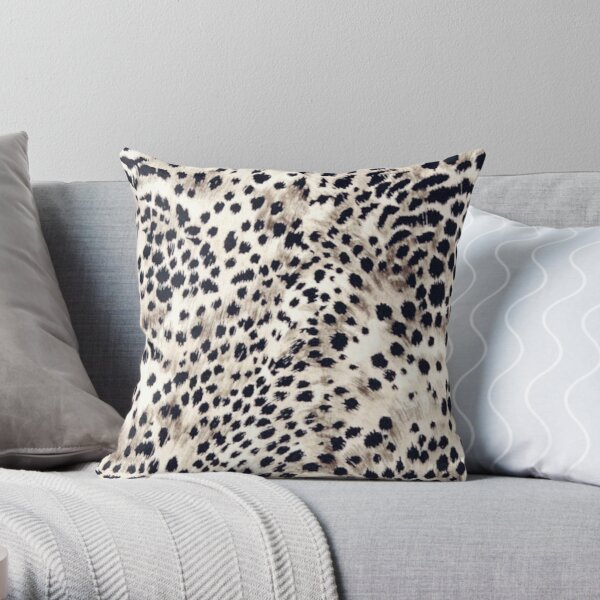 Faux Animal Fur, Snow Leopard Throw Pillow