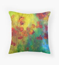 Red and Orange Poppies Throw Pillow