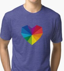 colorful geometric heart Tri-blend T-Shirt