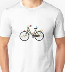 Old vintage bicycle with flowers and birds Unisex T-Shirt