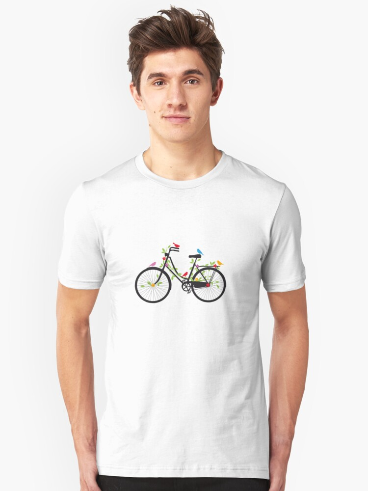 Old vintage bicycle with flowers and birds Unisex T-Shirt Front